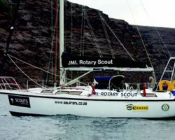JML Rotary Scout at her mooring in St Helena Island